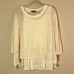 Chelsea & Theodore ivory tank with knit overlay